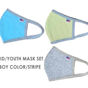 Pack-of-3-Boy-Girl-Kid-Youth-Junior-Mask-Colors-Stripe-American-Flag-Mask-School-Pack-Blue-Yellow-Grey-Stripe-Fabric-Cloth-Face-Covering-Houston-Texas-Local-Pick-up-Near-me-Antimicrobial-Mask